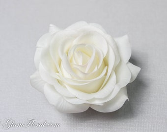 Wedding Hair Flower/ Cream White Rose Hair Clip / Brooch / Corsage, Petite Real Touch Rose Fascinator