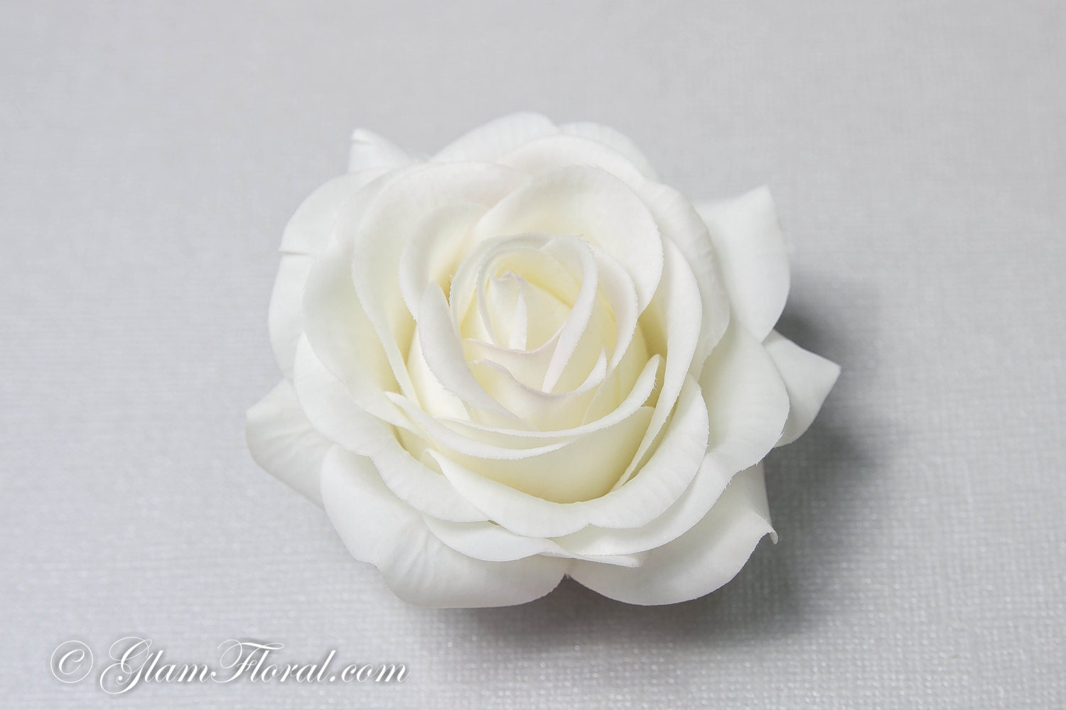 White Garden Rose Hair creme white rose hair clip real touch wedding hair fascinator