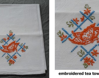 Hand Embroidered Dish Tea Towel Flour Sack Cotton Kitchen - Butterflies Flowers Victorian House Puppy Dishes Retro Vintage Stamped Design