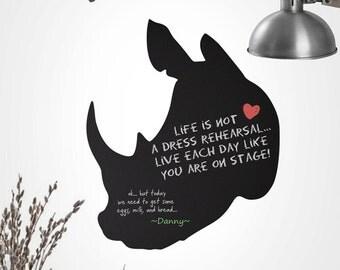 Chalkboard Decal - Faux Rhino Head Wall Sticker - Kitchen Chalkboard - 0114B