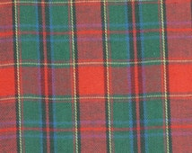 Red Green Plaid Shirting, Yarn Dyed Fabric, Blue Yellow, Medium Weight Cotton, half yard, B25