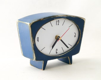 Desk Clock Blue, Navy blue table clock, Wood handmade Clock, Vintage 60s style, Unique Gift Clock, Gift for him and her, Spring blue decor