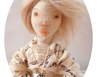 Textile Art Doll, Cloth Doll - Sonnet