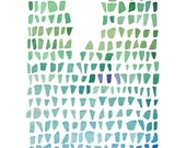 Sea Glass art Giclee print  Watercolor painting Seaglass Abstract painting green blue ombre seafoam