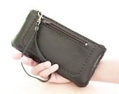 SALE 20-30 % OFF, Zipper Leather Wristlet Wallet Pouch in Black