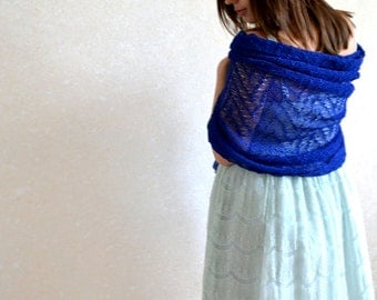 Blue Stole Bridesmaids Shawl Lace Scarf Cobalt Scarf Linen Shawl Bridesmaid Favor Royal Blue Scarf Knitted Gauzy Shawl