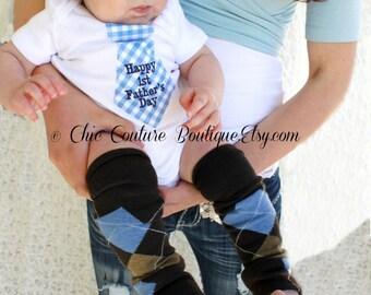 Baby Boy Tie Bodysuit with ANY Personalization & Leg Warmers Set.  Any Necktie Fabric. Plaid, Stripes, Argyle. New Dad, New Baby. Australia