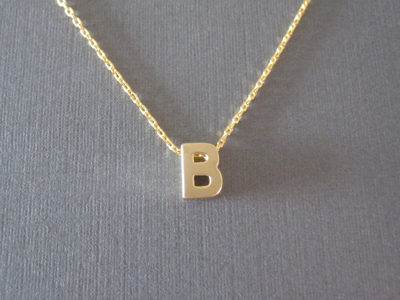 gold block letter initial necklace zoom