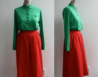 Vintage 1970s 1980s Red Cotton A line Summer Skirt