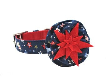 Dog Collar and Flower Set - Navy Blue and Red Shooting Stars