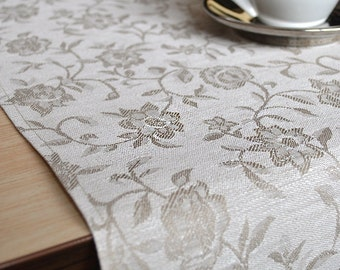 Table Runners Weddings Damask Table Runner Natural Tabletop White with Gray Flowers Table Decor