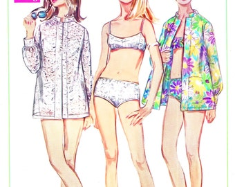 1960s Bust 32 1/2 Misses Bathing Suit Vintage Sewing Pattern Bikini Shirt Simplicity 7645 c 1968 60s