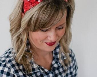 Dolly Bow, Red Bandana, Rockabilly Wire Headband Flexible Pin Up