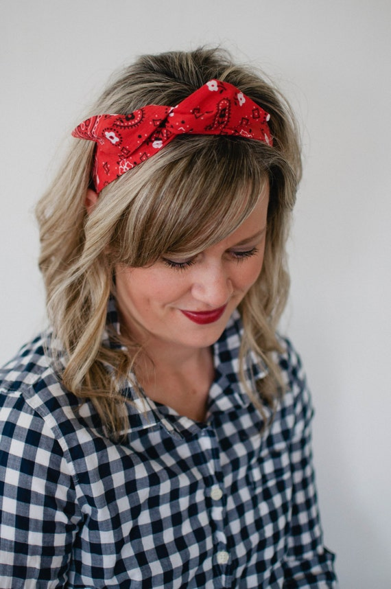 Dolly Bow Red Bandana Rockabilly Wire Headband Flexible Pin