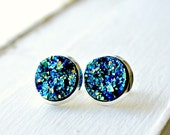 Blue Moon druzy post earrings, stud earrings, silver post, sparkle, rocks