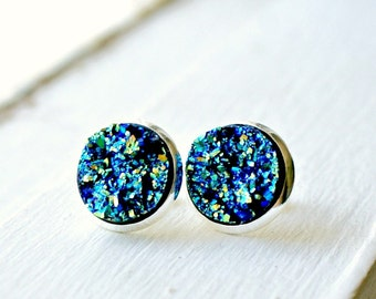 Moon rocks silver plated post faux druzy stud earrings, fake plugs, faux plugs