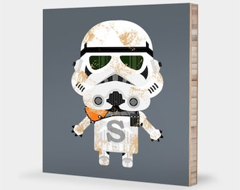 S for Sandtrooper : ABC Block Bamboo Wall Art Series // Alphabet Kids Wall Art Nursery Room Decor Baby Star Wars Sci-fi