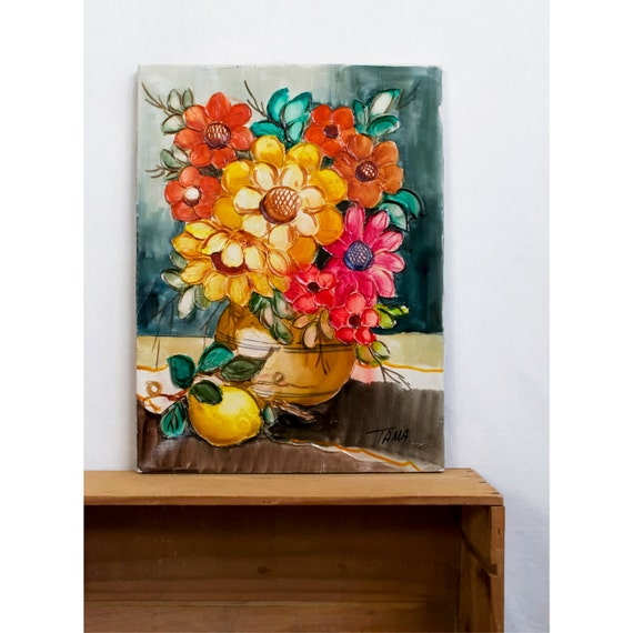SALE - Italian Oil Painting / Floral Still Life Painting with Lemon