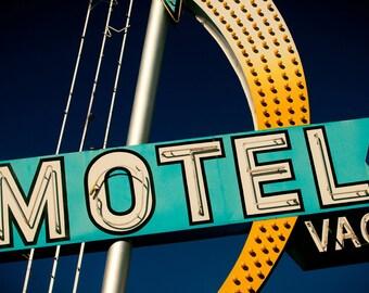 Star Motel Las Vegas Neon Sign - Mid Century Modern - Retro Home Decor - Graphic Typography - Shooting Star - Fine Art Photography
