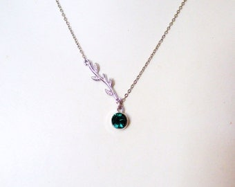 Classic Elegant IVY Necklace with Sparkly Swarovski Crystal - Choose your color