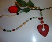 Volcano Stone  Heartshape Necklace