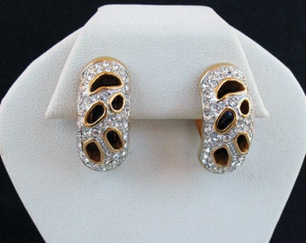 Signed Swarovski Retired Gold Tone, Enamel and Crystal Earrings with original pouch