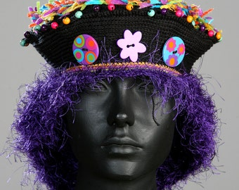 Deep Purple Crochet Hat with Three Colorful Buttons...