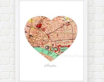 London Map Art, Map Wall Decor, Heart Print