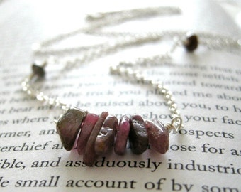 Rustic Pink Tourmaline Shard Necklace - Sterling Silver / Eclectic Organic Modern Simple Jewelry October Birthstone Gift