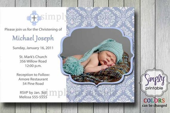 Damask Baptism Invitation with Photo