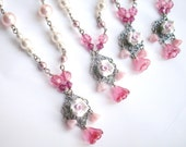 4 bridesmaid pearl necklaces, filigree pendants with polymer rose. Swarovski pink and white pearl necklaces. Pearl bridesmaid jewelry.