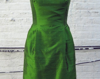 Apple Green Scooped Neckline Silk Shantung Cocktail Dress