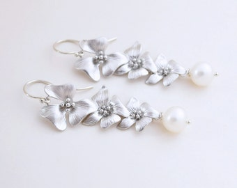 Silver Cherry Blossom Earrings, Freshwater Pearls, Argentium Sterling Silver French Hoops, Spring Flower Earrings, Wedding Jewelry