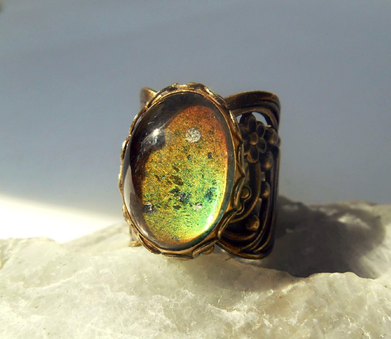 mood ring vintage antique floral brass