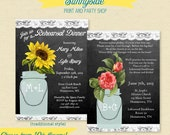 Rehearsal Dinner Invitation, Vintage Floral Chalkboard with Mason Jar, Country Rustic Wedding Rehearsal Invite