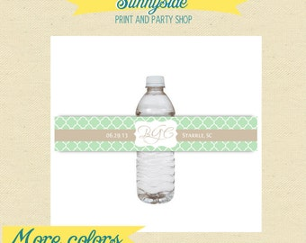 YOUR COLORS - or Logo - Wedding Water Bottle Labels - Printable - Custom