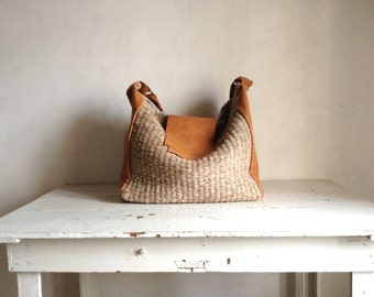 Large Woven Holdall in Leather and Handweave Boho Style -  Natural Tan Leather - Made to Order