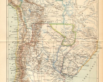 1893 Original Antique Dated Map of Argentina, Chile, Bolivia, Uruguay and Paraguay