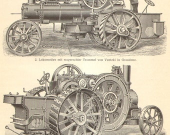 1904 Original Antique Engraving of Ploughing Engines, Motor Ploughs