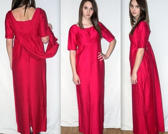 Mid Century Miss .. vintage 60s formal dress cocktail party / empire waist watteau train / gown prom / hot pink fuchsia mad men.. XXS XS