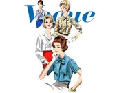 1960s Blouse Pattern Vogue 5213 Bust 31 Tuck In Front Button Down Notched or Tie Collar Shirts Day or Evening Womens Vintage Sewing Patterns