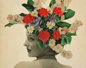 Floral Art Print, Paper Collage Print, Spring Art, Suddenly Blooming, Flowers in Hair, Retro Art Print