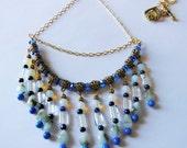 Aquamarine Lapis Lazuli on Quartz statement necklace 444