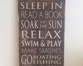 Lake Rules Typography Art Wood Sign - Distressed