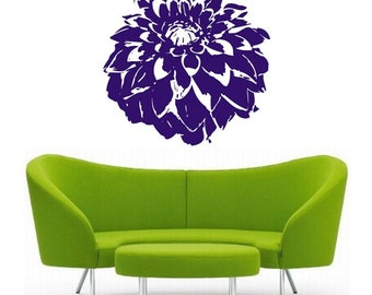 Dahlia Flower, vinyl Wall DECAL Art, sticker art, room, home and business decor