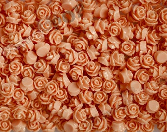 7.5mm - Coral Teeny Tiny Rose Resin Cabochons, Tiny Flower Cabochons, Rose Shaped Flatback Cabochons, Tiny Flatback Roses, 7.5mm  (R3-049)