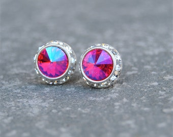 Hot Fluorescent Pink Earrings Swarovski Crystal Neon Hot Pink Rhinestone Stud Earrings Sugar Sparklers Small Mashugana