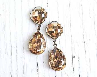 Champagne Diamond Mist Dangle Earrings Swarovski Crystal Earrings Post Dangle Tear Drop Pear Rhinestone Gwenevere Mashugana