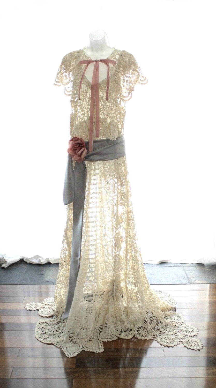 Edwardian Style Wedding Dress Upcycled Vintage Crochet Lace