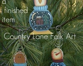 EPATTERN, #0003 snowglobe ornament, paint your own,  snowman, penguin, gingerbread, pattern, digital download,